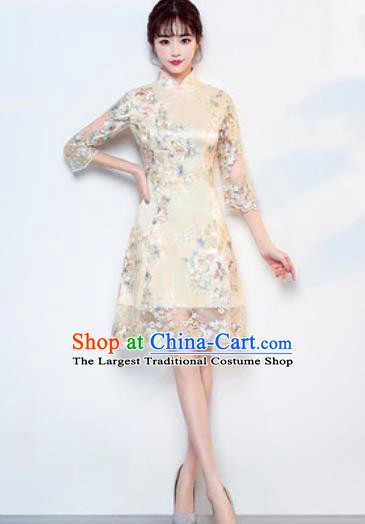 Chinese Traditional National Costume Classical Cheongsam Wedding Beige Full Dress for Women