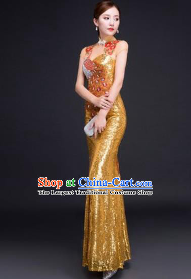 Chinese Traditional National Costume Classical Wedding Golden Fishtail Full Dress for Women