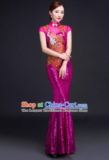 Chinese Traditional National Costume Classical Wedding Rosy Fishtail Full Dress for Women