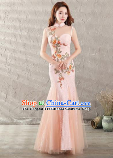 Chinese Traditional National Costume Classical Wedding Pink Veil Fishtail Full Dress for Women
