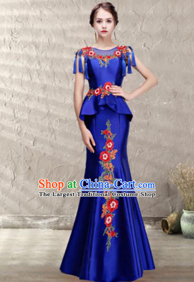 Chinese Traditional Wedding Costume Classical Embroidered Royalblue Fishtail Full Dress for Women
