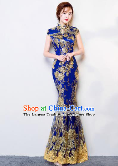 Chinese Traditional Wedding Costume Classical Embroidered Royalblue Lace Full Dress for Women