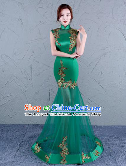 Chinese Traditional Wedding Costume Classical Embroidered Green Veil Full Dress for Women