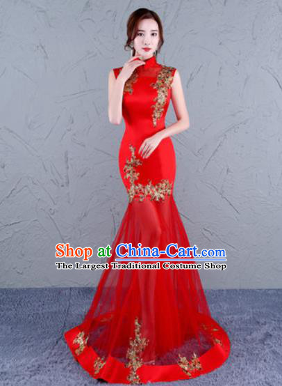 Chinese Traditional Wedding Costume Classical Embroidered Red Veil Full Dress for Women