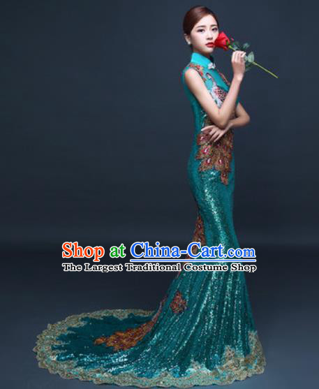 Chinese Traditional Wedding Costume Classical Green Trailing Full Dress for Women