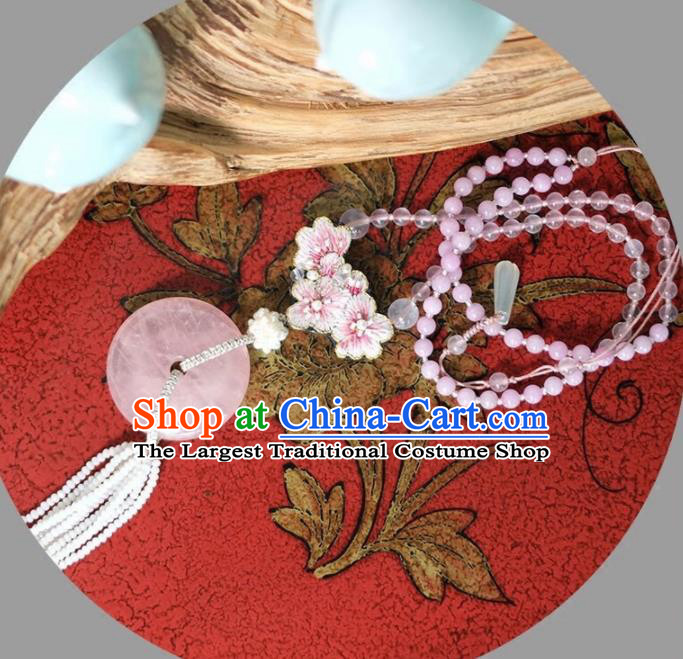 Chinese Traditional Accessories Classical Rose Chalcedony Tassel Necklace for Women