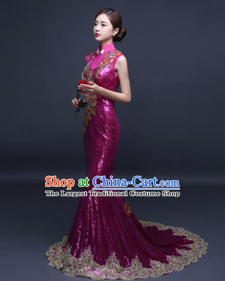 Chinese Traditional Wedding Costume Classical Rosy Trailing Full Dress for Women