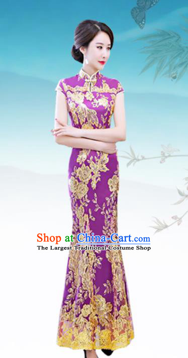 Chinese Traditional Wedding Costume Classical Embroidered Purple Full Dress for Women