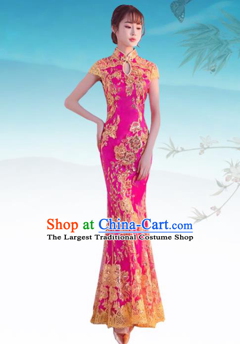 Chinese Traditional Wedding Costume Classical Embroidered Rosy Full Dress for Women