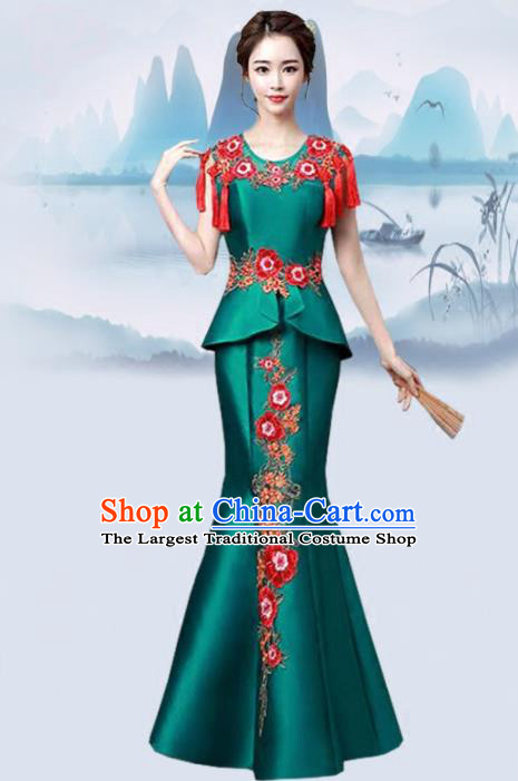 Chinese Traditional Wedding Costume Classical Embroidered Deep Green Full Dress for Women