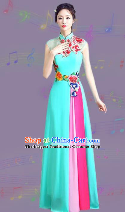 Chinese Traditional Cheongsam Costume Classical Embroidered Peony Blue Full Dress for Women