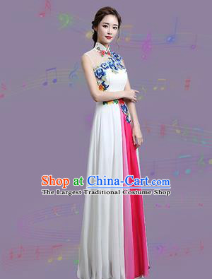 Chinese Traditional Cheongsam Costume Classical Embroidered Peony White Full Dress for Women