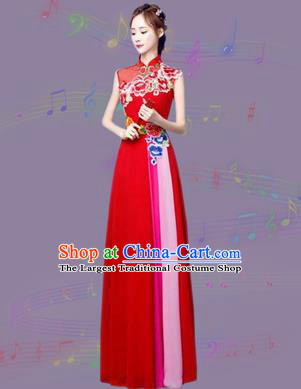 Chinese Traditional Cheongsam Costume Classical Embroidered Peony Red Full Dress for Women