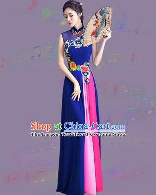 Chinese Traditional Cheongsam Costume Classical Embroidered Peony Royalblue Full Dress for Women
