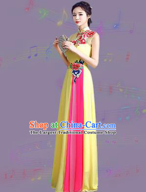 Chinese Traditional Cheongsam Costume Classical Embroidered Peony Yellow Full Dress for Women