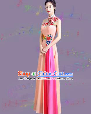 Chinese Traditional Cheongsam Costume Classical Embroidered Peony Pink Full Dress for Women