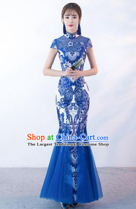 Chinese Traditional Cheongsam Costume Classical Embroidered Blue Veil Full Dress for Women