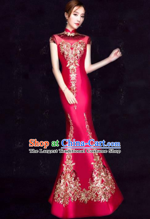Chinese Traditional Fishtail Cheongsam Costume Classical Embroidered Rosy Full Dress for Women