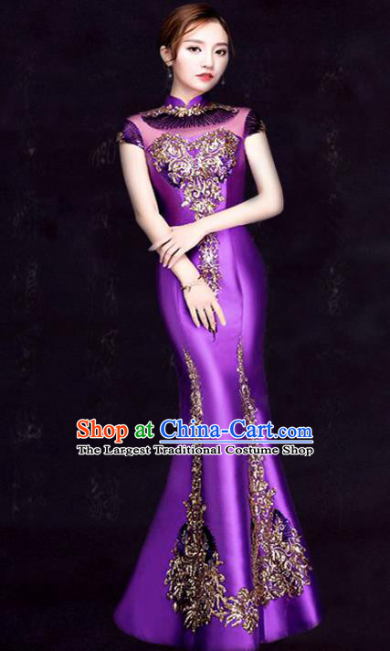Chinese Traditional Fishtail Cheongsam Costume Classical Embroidered Purple Full Dress for Women