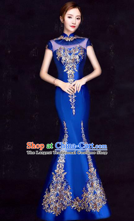 Chinese Traditional Fishtail Cheongsam Costume Classical Embroidered Royalblue Full Dress for Women