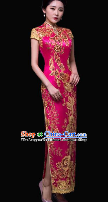 Chinese Traditional Embroidered Rosy Cheongsam Costume Classical Full Dress for Women