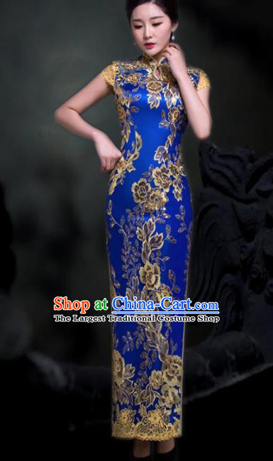 Chinese Traditional Embroidered Royalblue Cheongsam Costume Classical Full Dress for Women