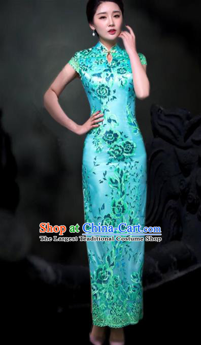 Chinese Traditional Embroidered Blue Cheongsam Costume Classical Full Dress for Women