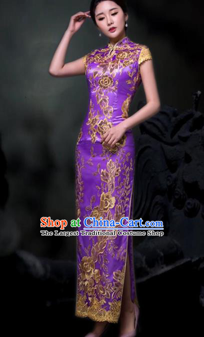 Chinese Traditional Embroidered Purple Cheongsam Costume Classical Full Dress for Women