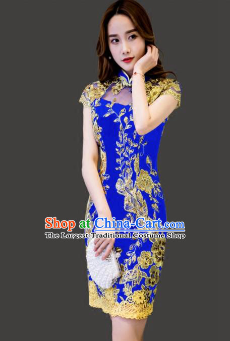 Chinese Traditional Blue Short Cheongsam Costume Classical Full Dress for Women