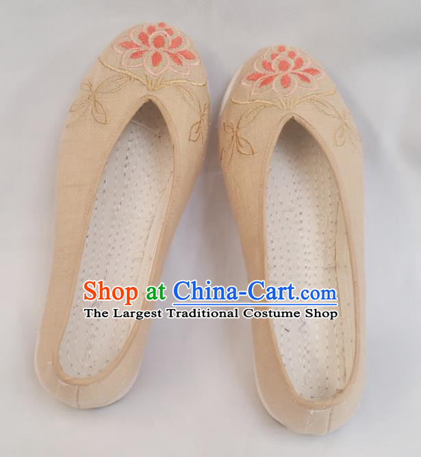 Chinese National Beige Linen Shoes Traditional Cloth Shoes Hanfu Shoes Embroidered Lotus Shoes for Women