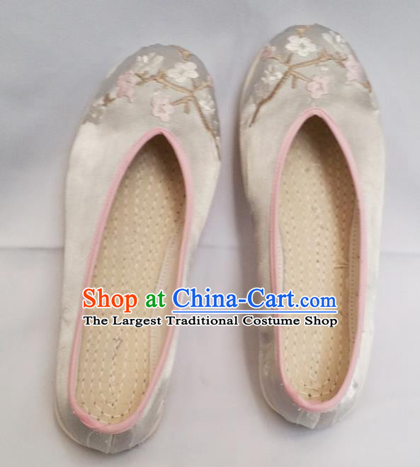 Chinese National Blue Silk Shoes Traditional Cloth Shoes Hanfu Shoes Embroidered Shoes for Women