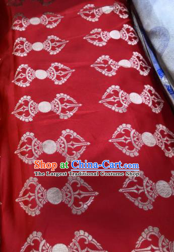 Chinese Traditional Buddhism Pattern Design Red Brocade Silk Fabric Tibetan Robe Fabric Asian Material