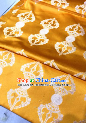 Chinese Traditional Buddhism Pattern Design Golden Brocade Silk Fabric Tibetan Robe Fabric Asian Material