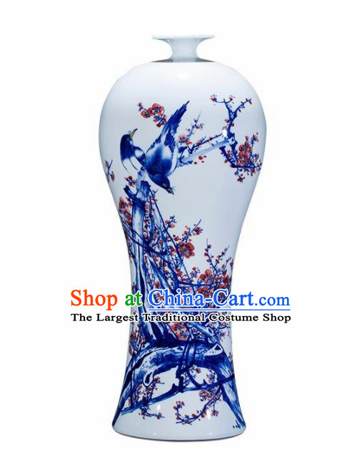 Chinese Jingdezhen Ceramic Handicraft Traditional Blue and White Porcelain Plum Blossom Vase