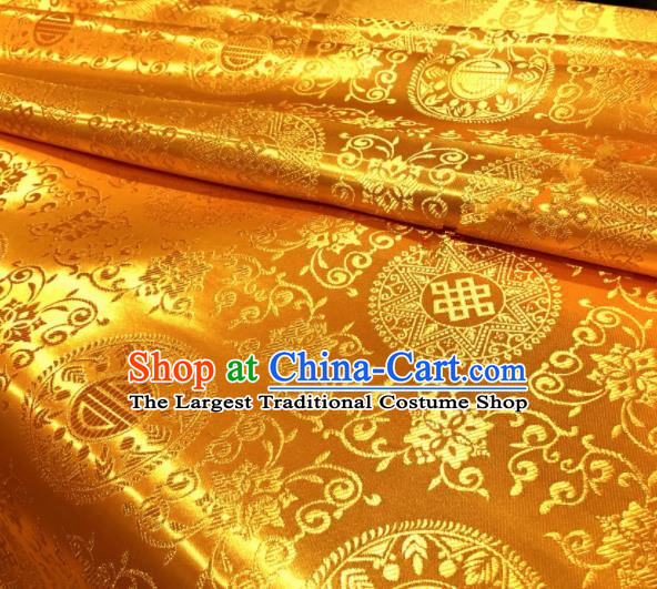 Chinese Traditional Buddhism Round Pattern Design Golden Brocade Silk Fabric Tibetan Robe Fabric Asian Material