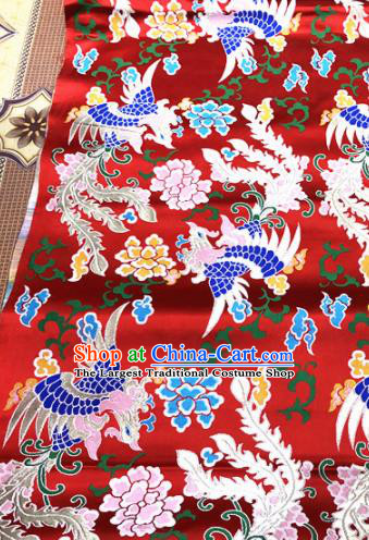 Chinese Traditional Buddhism Phoenix Pattern Design Red Brocade Silk Fabric Tibetan Robe Fabric Asian Material