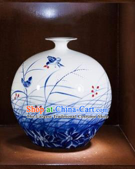 Chinese Traditional Blue and White Porcelain Orchid Pomegranate Vase Jingdezhen Ceramic Handicraft