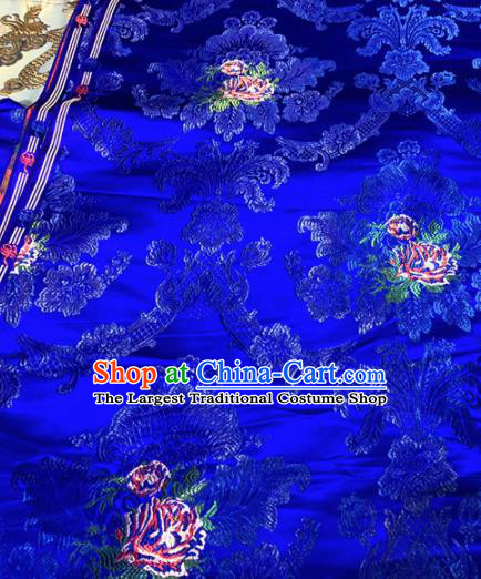 Chinese Traditional Buddhism Roses Pattern Design Royalblue Brocade Silk Fabric Tibetan Robe Satin Fabric Asian Material