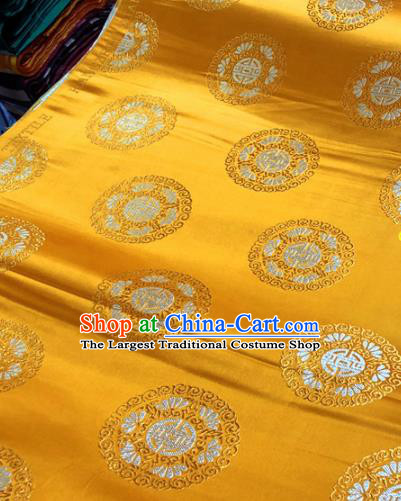 Chinese Traditional Buddhism Lotus Pattern Design Golden Brocade Silk Fabric Tibetan Robe Satin Fabric Asian Material