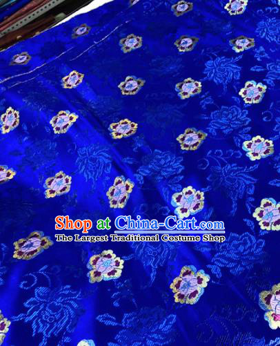 Chinese Traditional Buddhism Peony Flowers Pattern Design Royalblue Brocade Silk Fabric Tibetan Robe Satin Fabric Asian Material