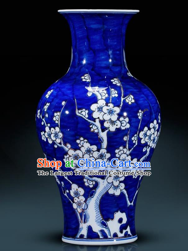 Chinese Jingdezhen Ceramic Handicraft Traditional Blue and White Porcelain Plum Blossom Design Vase