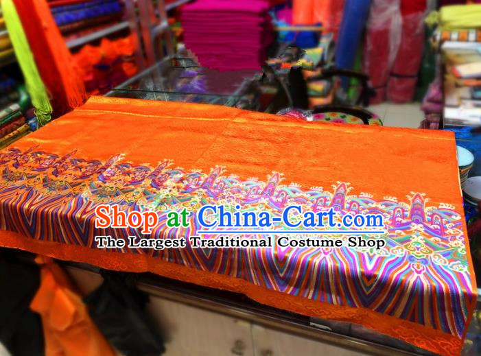 Chinese Traditional Buddhism Pattern Design Golden Brocade Silk Fabric Tibetan Robe Satin Fabric Asian Material