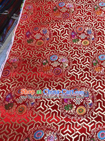 Chinese Traditional Buddhism Lucky Pattern Design Red Brocade Silk Fabric Tibetan Robe Satin Fabric Asian Material