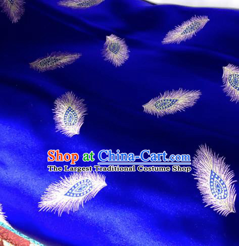 Chinese Traditional Buddhism Peacock Feather Pattern Design Royalblue Brocade Silk Fabric Tibetan Robe Satin Fabric Asian Material