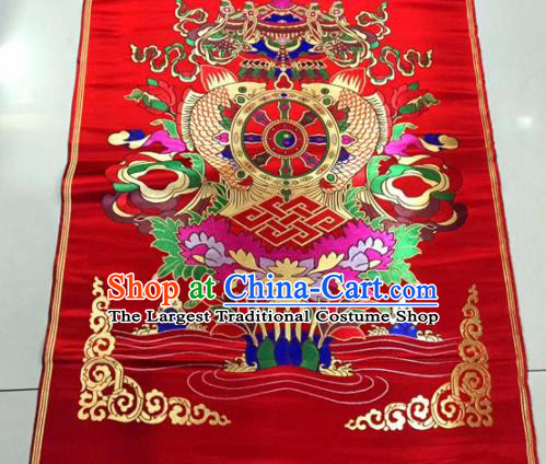 Chinese Traditional Buddhism Composite Flowers Pattern Design Red Brocade Silk Fabric Tibetan Robe Satin Fabric Asian Material