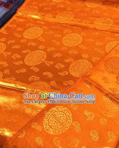 Chinese Traditional Buddhism Clouds Pattern Design Golden Brocade Silk Fabric Tibetan Robe Satin Fabric Asian Material
