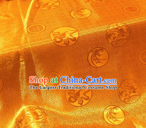 Chinese Traditional Buddhism Calabash Orchid Pattern Design Golden Brocade Silk Fabric Tibetan Robe Satin Fabric Asian Material