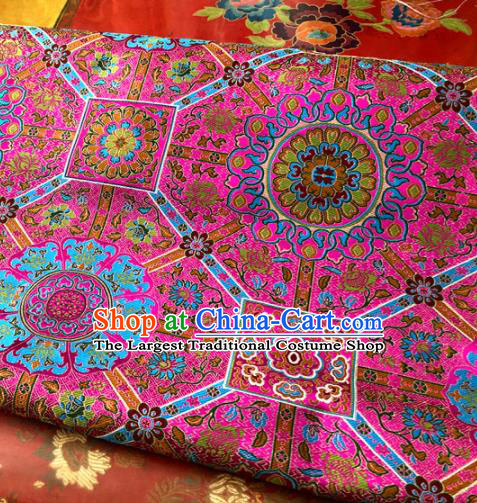 Chinese Traditional Buddhism Pattern Design Rosy Brocade Silk Fabric Tibetan Robe Satin Fabric Asian Material