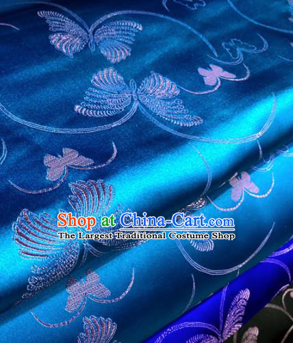 Chinese Traditional Buddhism Butterfly Pattern Design Blue Brocade Silk Fabric Tibetan Robe Satin Fabric Asian Material