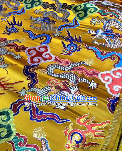 Chinese Traditional Buddhism Cloud Dragons Pattern Design Golden Brocade Silk Fabric Tibetan Robe Satin Fabric Asian Material